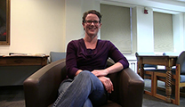 Thumbnail of Jen Brown sitting the Montana State University Merrill G. Burlingame Special Collections Reading Room.