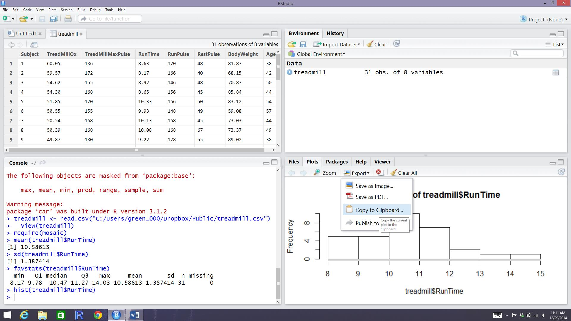 Figure 06: Rstudio While In The Process Of Copying The Histogram