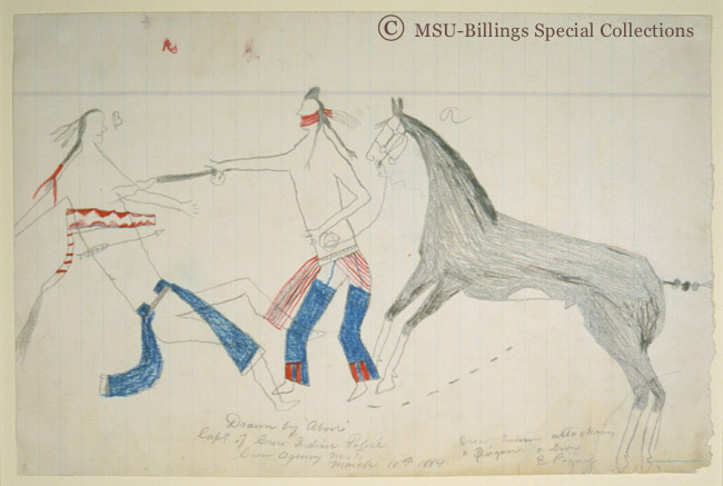 Great Plains Ledger Drawings : War record drawing indian peoples digital image database