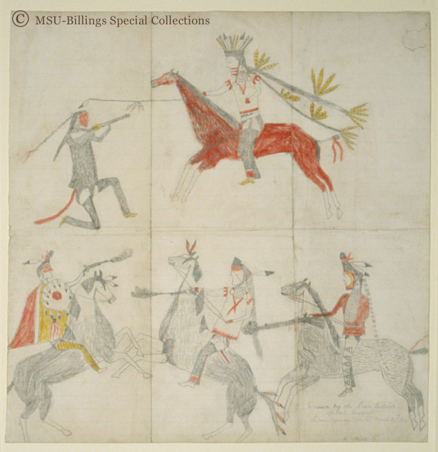 Great Plains Ledger Drawings : Spotted buffalo crow absorkee apsaalooka agency