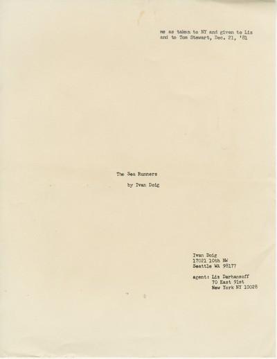 The Sea Runners - manuscript for editors December 21, 1981, pp. 1-260