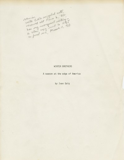 Winter Brothers - original manuscript with corrections March 1980