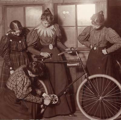 Women Reparing Bicycle, Bozeman, 1895
