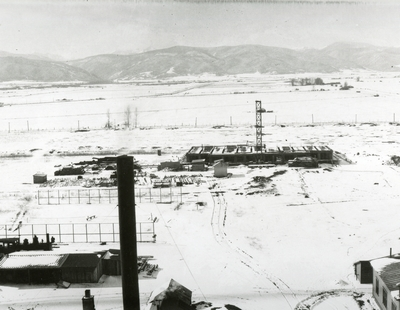 Construction of Romney Gym, taken from the roof of Main Hall in the snow.