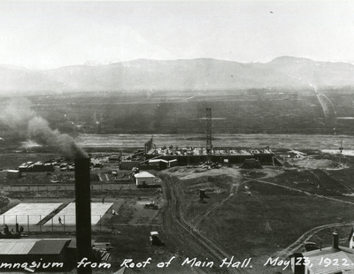Construction of Romney Gym, taken from the roof of Main Hall, 1922