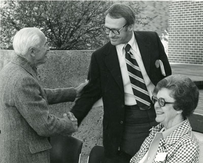 Roland.R. Renne, Tietz and Alice McClain at the Dedication of the Strand Union and Renne Library