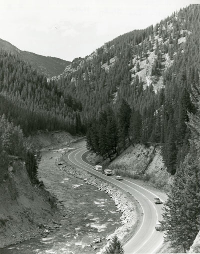 Cars driving along the Gallatin River, part of the Gallatin Canyon Study Photos