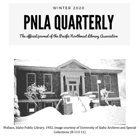 Wallace Idaho Public Library in the snow, 1932 journal cover PNLAQ