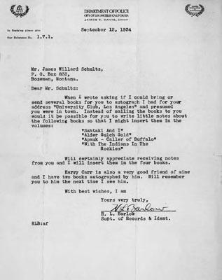 Letter, Department of Police - City of Los Angeles California, Item ...: http://arc.lib.montana.edu/schultz-0010/item/698