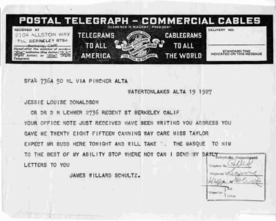 Postal Telegraph James Willard Schultz Sent to Jessie Louise Donaldson