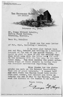 Letter from George S. to James Willard Schultz about the sacred bundle's purpose